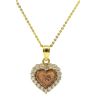 14k Tri-color Gold Sweet 15 Cubic Zirconia Heart Necklace