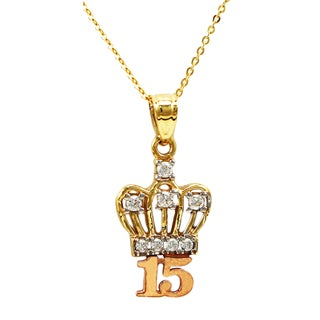 14k Two-tone Gold Sweet 15 Crown Necklace