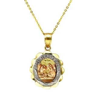 14k Tri-color Gold Mi Bautizo Necklace (Option: 16 Inch)