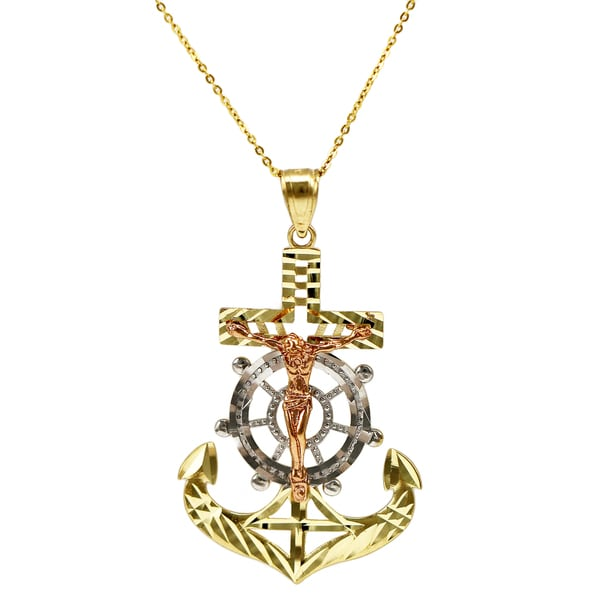 14k Tri-color Gold Nautical Jesus Necklace