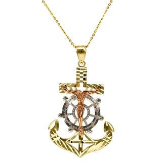 14k Tri-color Gold Nautical Jesus Necklace