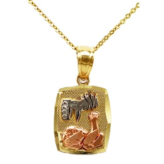14k Tri-color Gold Baptism Pendant Necklace