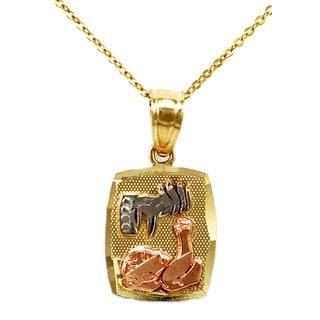 14k Tri-color Gold Baptism Pendant Necklace (Option: 16 Inch)