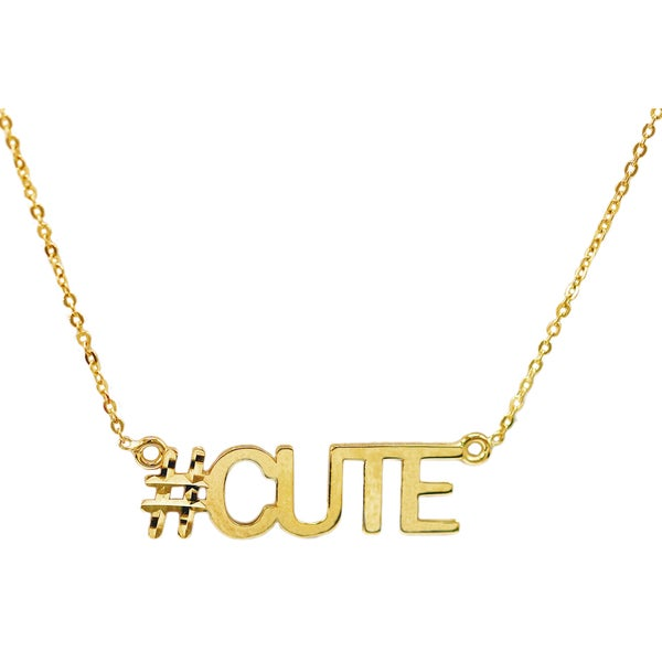 10k Yellow Gold 'Cute' Hashtag Necklace