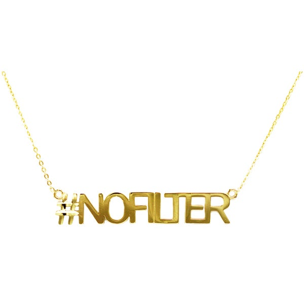 10k Yellow Gold 'No Filter' Hashtag Necklace