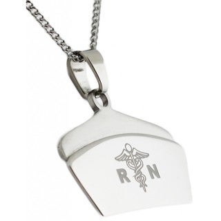 Stainless Steel Registered Nurse RN Pendant Necklace