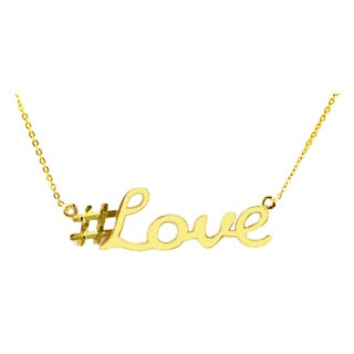 10k Yellow Gold 'Love' Hashtag Necklace