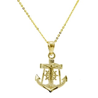 14k Yellow Gold Small Anchor Necklace