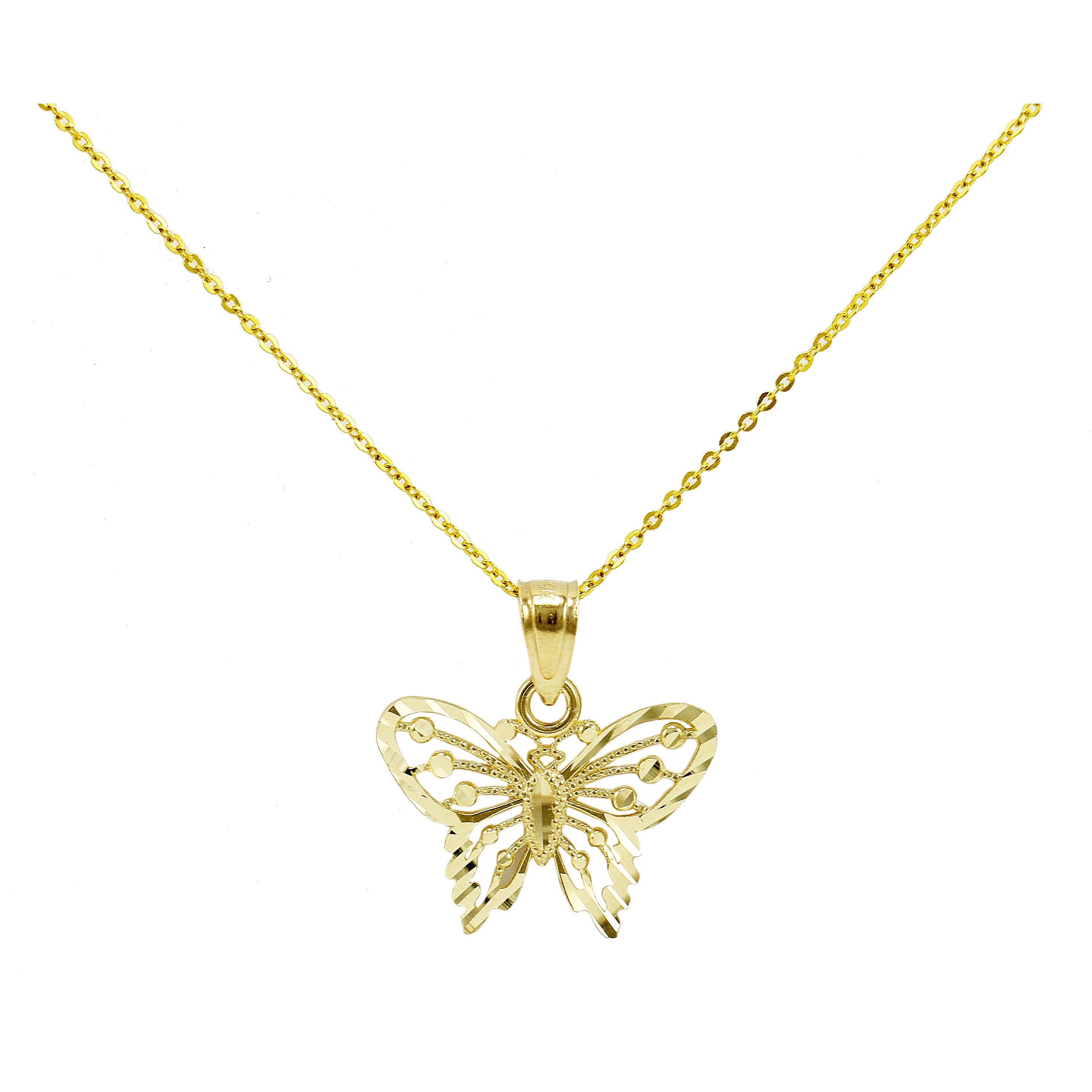 14k Yellow Gold Diamond-cut Petite Butterfly Necklace (20...
