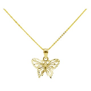 14k Yellow Gold Diamond-cut Petite Butterfly Necklace
