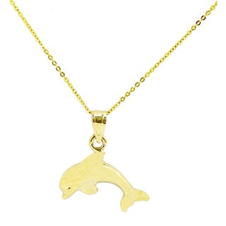 14k Yellow Gold Small Dolphin Necklace (Option: 20 Inch)