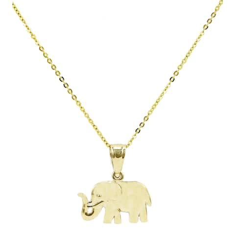 14k Yellow Gold Small Elephant Pendant Necklace