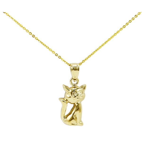 14k Yellow Gold Cat Necklace Free Shipping Today Overstock