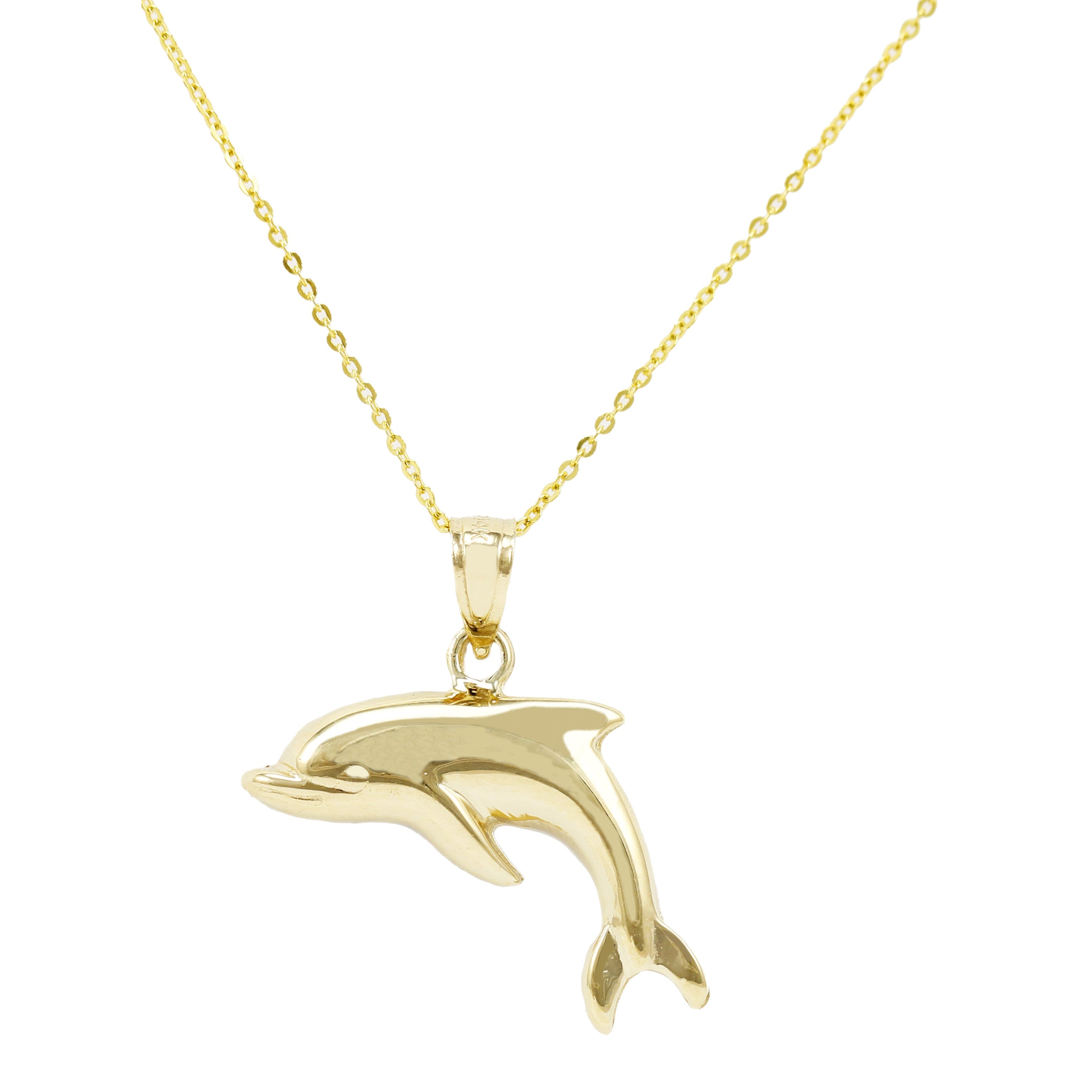 14k White And Yellow Gold Dolphin Pendant Charm