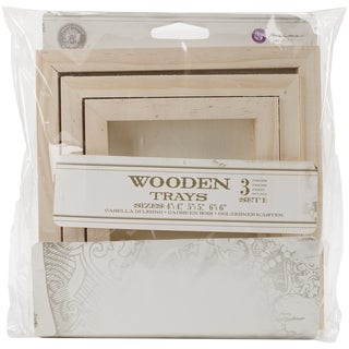 Relic & Artifacts Archival Case Wooden Trays 3/Pkg Set 1 Square; 4inX4in, 5inX5in & 6inX6in