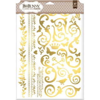 BoBunny Foil Rub Ons 9inX12.5in Gold Filigree