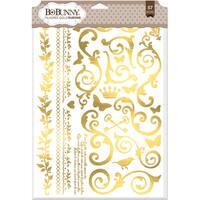 BoBunny Foil Rub Ons 9inX12.5in Gold Filigree
