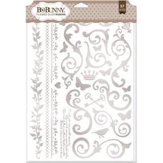 BoBunny Foil Rub Ons 9inX12.5in Silver Filigree
