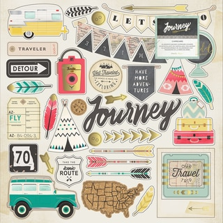 Journey Chipboard Stickers 12inX12in Gold Foil Accents