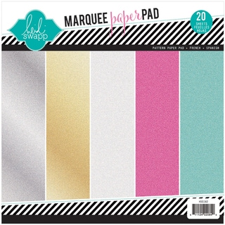 Heidi Swapp Glitter Paper Pad 8.5inX8.5in 20/Pkg Marquee Love, 4 Each Of 5 Colors