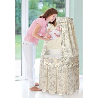 Badger Basket Majesty Baby Bassinet with Canopy Black Toile Bedding|https://ak1.ostkcdn.com/images/products/10279761/P17395237.jpg?impolicy=medium