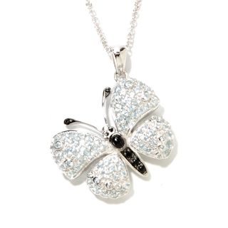 Sterling Silver Blue Topaz and Black Spinel Butterfly Necklace