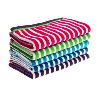 Jumbo Stripe Velour Beach Towel (Option: Purple/White)