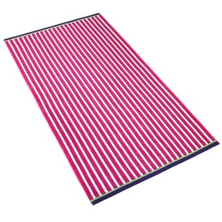 "Kaufman - Oversize 40"" X 70"" Stripe Color Velour Soft Beach and Pool Towel."