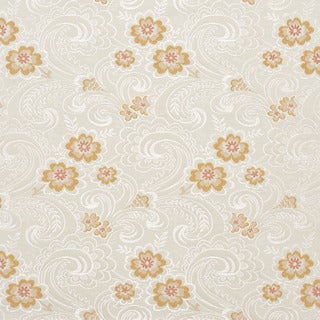 D123 Silver White Mahogany Red Paisley Brocade Upholstery Fabric