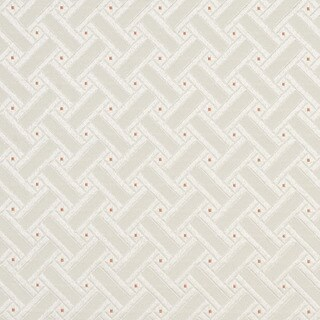 D131 Silver White And Mahogany Red Lattice Brocade Upholstery Fabric