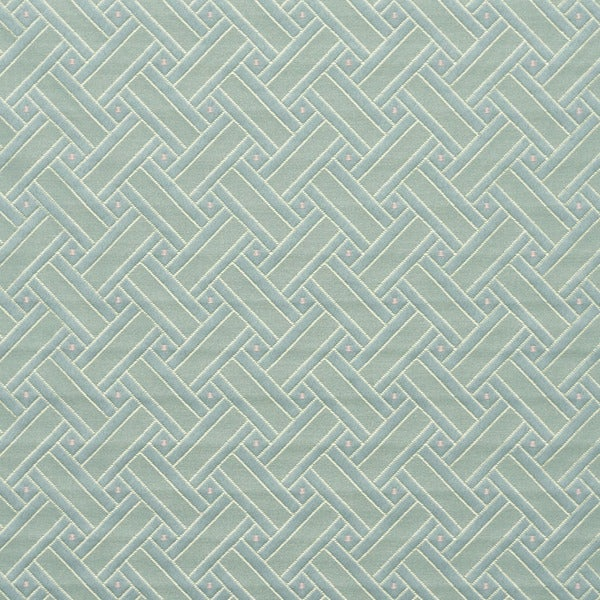 D134 Gold Pink And Blue Lattice Brocade Upholstery Fabric
