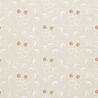 D143 Silver White And Mahogany Red Floral Brocade Upholstery Fabric