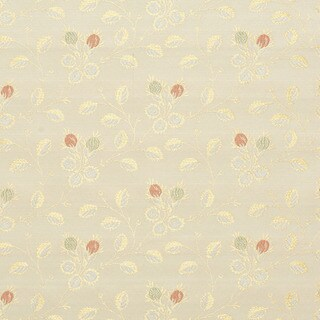 D147 Gold White Red And Green Floral Brocade Upholstery Fabric
