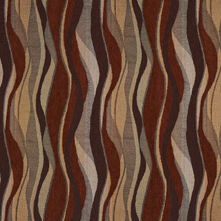 F531 Red Gold And Grey Abstract Striped Chenille Upholstery Fabric (2 options available)