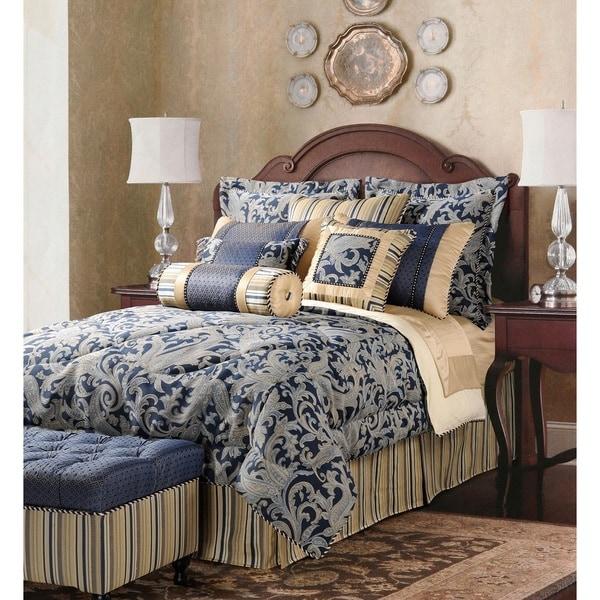 shop jennifer taylor navy ivory oversized king size 10 piece comforter set free shipping. Black Bedroom Furniture Sets. Home Design Ideas