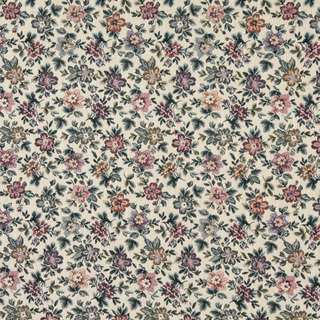 F663 Beige Burgundy Green Floral Flowers Tapestry Upholstery Fabric