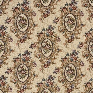 F665 Burgundy Beige Green Floral Bouquet Tapestry Upholstery Fabric