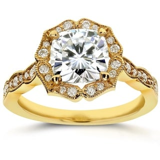 Annello by Kobelli 14k Yellow Gold 2ct TGW Cushion-cut Moissanite (HI) and Diamond Antique Floral Engageement Ring