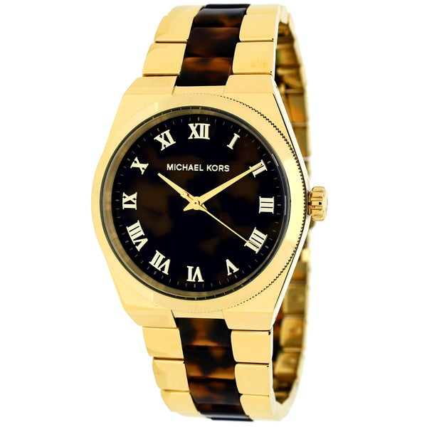 71bf544de2a4 Michael Kors Women  x27 s MK6151 Channing Round Tortoise and Gold-Tone  Bracelet