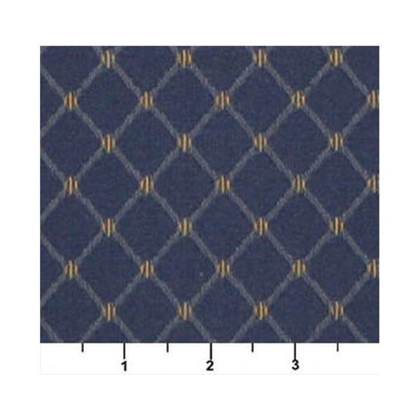 Blue And Gold Diamond Jacquard Woven Upholstery Fabric By The Yard Pattern # D332