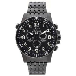 Xezo for Unite4:good Air Commando Mens Swiss Made Divers Gunmetal Chronograph Watch