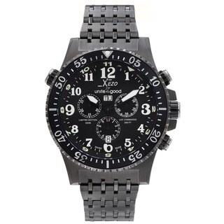 Xezo for Unite4:good Air Commando Mens Swiss Made Divers Gunmetal Chronograph Watch