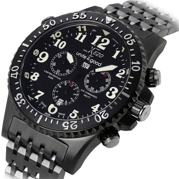 Xezo for unite4 good air commando mens swiss made divers gunmetal chronograph watch free for Xezo watches