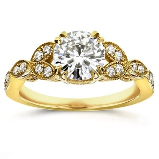Annello by Kobelli 14k Yellow Gold Round Moissanite and 1/5 ct TDW Diamond Antique Engagement Ring