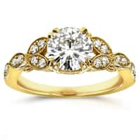 Annello by Kobelli 14k Yellow Gold 1 1/5ct TGW Round Moissanite and Diamond Antique Leafy Engagement Ring