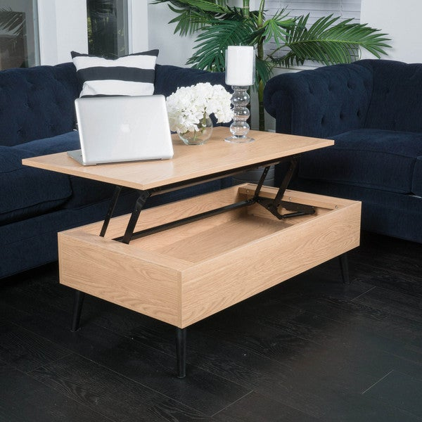 Lift Table Coffee Table: Shop Elliot Wood Lift-Top Storage Coffee Table By