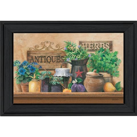 """Antiques and Herbs"" By Ed Wargo, Printed Wall Art, Ready To Hang Framed Poster, Black Frame"