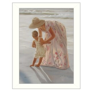 """""""First Time on the Beach"""" By Georgia Janisse, Printed Wall Art, Ready To Hang Framed Poster, White Frame"""