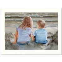 """""""Boy and Girl Sitting"""" By Georgia Janisse, Printed Wall Art, Ready To Hang Framed Poster, White Frame"""