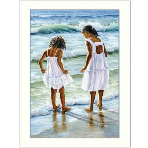 """Two Girls at the Beach"" By Georgia Janisse, Printed Wall Art, Ready To Hang Framed Poster, White Frame"